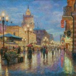 Arbat in the evening. Oil on canvas