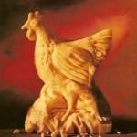 Hen cheese sculpture by American artist Sarah Kaufmann