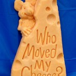 Who moved my cheese?, asks a mouse. Creative cheese sculpture by American artist Sarah Kaufmann