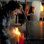Working in his studio Dale Chihuly