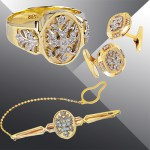 Exclusive jewelry set of diamonds, gold, for men