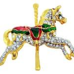 Goldtone Crystal Christmas Carrousel Horse Brooch