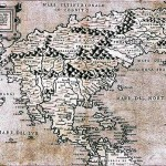 Italian map of North America in 1566 is one of the first maps that display the most northern parts, such as Canada