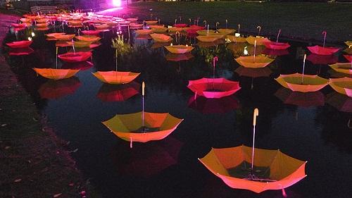 Colorful installation of umbrellas by UK-based artist Luke Jerram