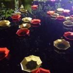 On the water. Colorful installation of umbrellas by UK-based artist Luke Jerram