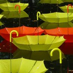 Yellow and red. Colorful installation of umbrellas by UK-based artist Luke Jerram