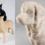 Best friends forever. Labrador retriever Lumpi – the Dog scratchpost for cats invented by Dutch designer Erik Stehmann