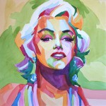 2012 watercolor on paper portrait of Marilyn Monroe