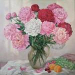Peonies. Painting by Russian artist Roman Urbinskiy