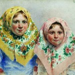 Two girls. Ivan Kulikov (1875 – 1941)
