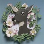 Portrait of a deer. Paper cut art by British artist Helen Musselwhite
