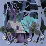 Trees and flowers. Paper Owl Town by British artist Helen Musselwhite