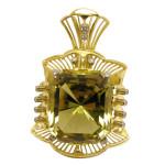 Pendant. Stones Diamond grit, Citrine. Material Gold 750