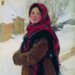 Village girl. Russian artist Fedot Sychkov (1870 – 1900)