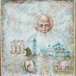 Saint Alexander Svirsky. The painting was applied to the relics and blessed by monks. It is currently in a private collection. 2007 canvas / oil