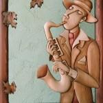 Saxophonists, wood, intarsia