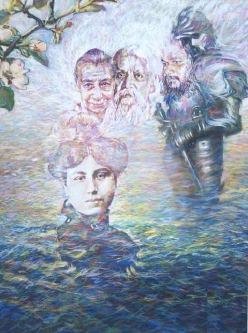 Sri Aurobindo and the Mother. portraits by Sergey Puzanov