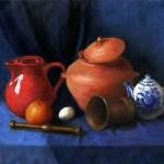 Still life with orange. 2011. Oil on canvas. Painting by Russian artist Irina Gayduk