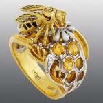 Stones Diamond, Brilliant, Citrine, enamel, gold 750