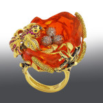 Stones Diamonds grit, Ruby, opal. Material gold 750