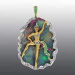 Stones diamond grit, Ruby, Emerald, opal, enamel. Material Gold 585