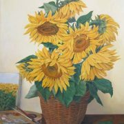Sunflowers in a vase. 2009. Oil on canvas. Painting by Novosibirsk based artist Roman Urbinskiy