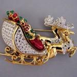 Swarovski rhinestone & enamel Christmas sleigh brooch
