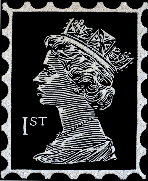 The Queen postage stamp mosaic