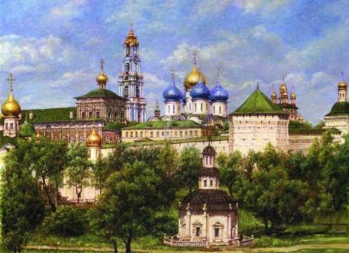 The Trinity Lavra of St.Sergius. painting by Irina Gayduk