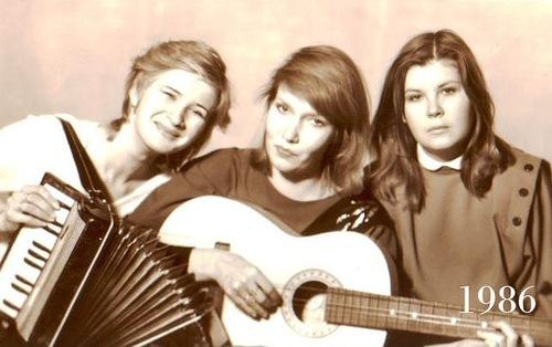 Three close female friends, 1986
