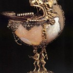 Uknown goldsmith, Netherlandish. Nautilus cup, 1592. Silver gilt, nautilus shell, glass and enamel, height 27 cm, diameter 10 cm. Gemeente