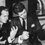 "American pianist Harvey Lavan ""Van"" Cliburn, Jr learning to play balalaika"