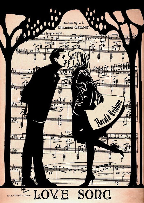 Vintage drawings on musical pages