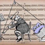 Funny ink drawing of a man playing a trumpet with a baby in cradle