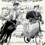 Two cyclists. Vintage drawings on musical pages