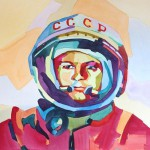 Yuri Gagarin. Watercolor portrait by Russian artist by Tatyana Abramova