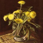 Coltsfoot flowers, known in Russia as 'Mother-and-Stepmother'. Painting by Andrei Andrianov