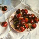 Cherry still life. Painting by Russian artist Andrei Andrianov