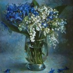 "[caption id=""attachment_66334"" align=""alignnone"" width=""500""] Beauituful bouquet of Blue wildflowers and Lilies of the valley. Painting by Russian artist Andrei Andrianov[/caption]"