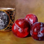 Plums. Realistic still life paintings by Hungarian self-taught artist Ferenc Tulok