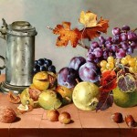 Autumn Fruit. still life paintings by Hungarian self-taught artist Ferenc Tulok