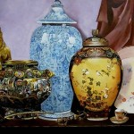 China and vases. Realistic still life paintings by Hungarian self-taught artist Ferenc Tulok