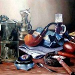 Pipes, tobacco and matches. Realistic still life paintings by Hungarian self-taught artist Ferenc Tulok