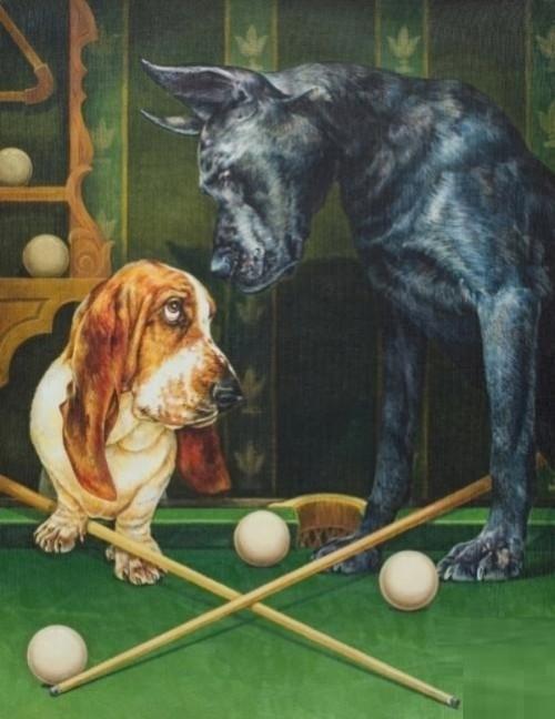 Playing billiard animals. Painting by artist Georgiy Volodko