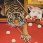 And even such different animals as a tiger and a pig can find common interest – playing billiard. Painting by Russian artist Georgiy Volodko