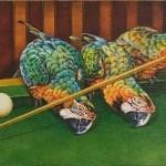 Parrots playing billiard. Painting by Russian artist Georgiy Volodko