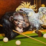What emotions! Playing billiard animals. Painting by Russian artist Georgiy Volodko