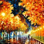 Colorful Autumn in painting by Belarusian impressionist Leonid Afremov