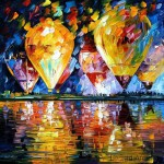 Hot-air-balloons. Autumn in painting by Belarusian impressionist Leonid Afremov