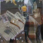 Newspapers and tea, still life. Art by Marina Printseva